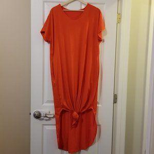 Orange 3X T-shirt Maxi Dress Tie Hem House dress